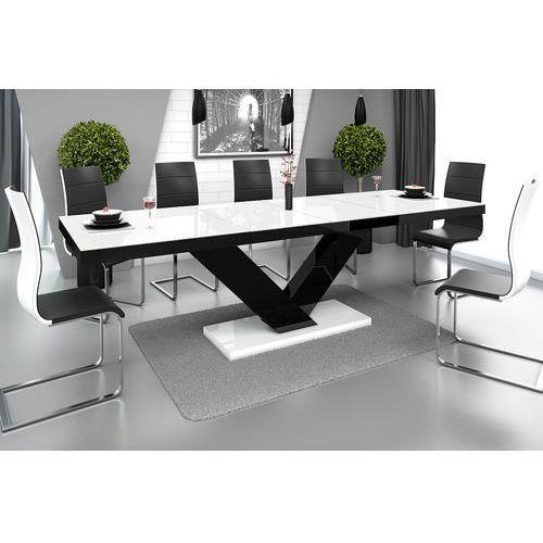 Hubertus design Stół rozkładany victoria biało-czarna wysoki połysk