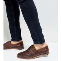 wide fit woven lace up shoes in brown - brown marki Silver street
