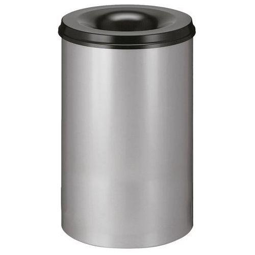 Kosz na papier, samogaszący, poj. 110 l, korpus srebrne aluminium / głowica gasz marki Vepa bins