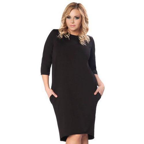 Czarna Dzianinowa Sukienka z Wiązaniem na Karku PLUS SIZE, w 2 rozmiarach