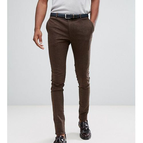 Heart & dagger tall super skinny smart trousers in stretch tweed - brown