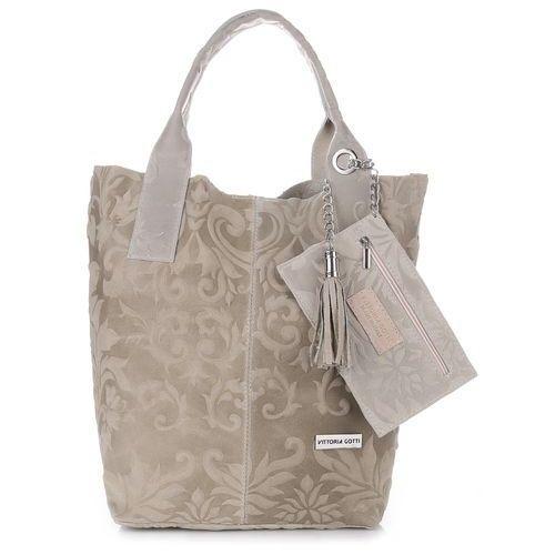 VITTORIA GOTTI Made in Italy Torebka Skórzana Shopperbag w Tłoczone Wzory Beżowa (kolory), V10be