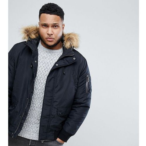 plus padded jacket with removable faux fur hood - black marki Only & sons