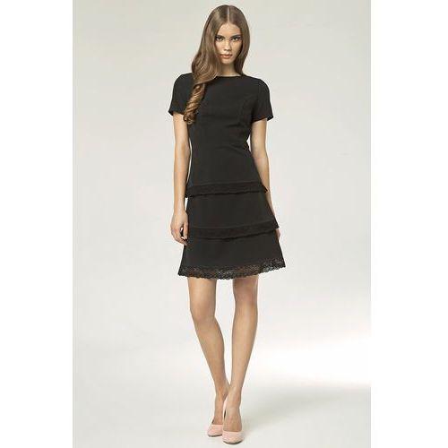 Czarna Elegancka Sukienka z Wypustkami z Czarnej Koronki, w 5 rozmiarach