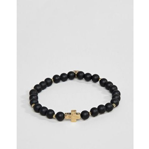 Icon brand black beaded bracelet with gold cross charm - black