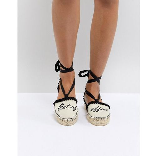 Miss kg 'out of office' tie up espadrilles - cream