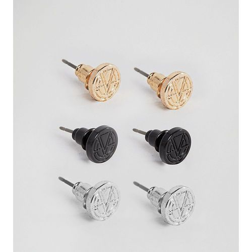 logo stud earrings in 3 pack - multi marki Chained & able