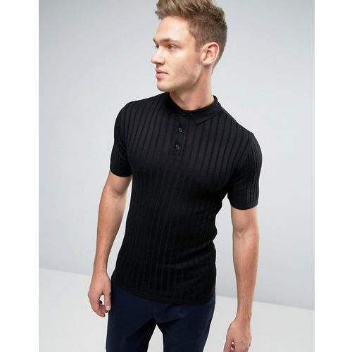 River Island Short Sleeve Muscle Fit Ribbed Polo In Black - Black