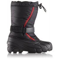 śniegowce dziecięce flurry 33 czarno-czerwone marki Sorel