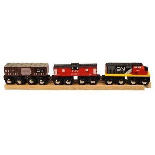 Pociąg CN Kolei Kanadyjskich do zabawy dla dzieci, wyposażenie kolejek Bigjigs