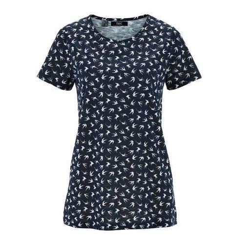 Shirt z przędzy mieszankowej, krótki rękaw bonprix ciemnoniebieski z nadrukiem, w 6 rozmiarach