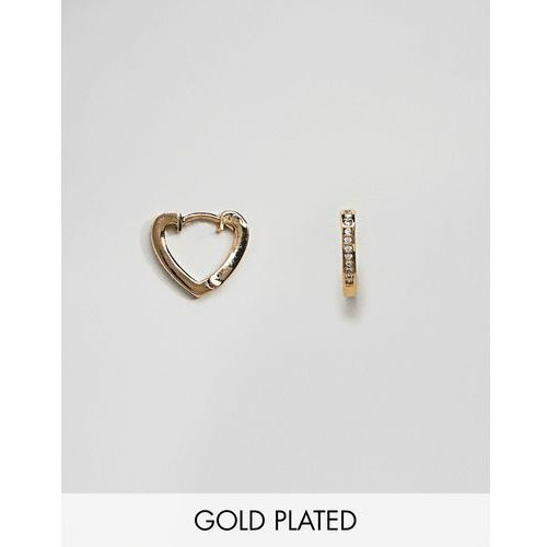 Orelia Pave Gold Plated Heart Huggie Hoop Earrings - Gold