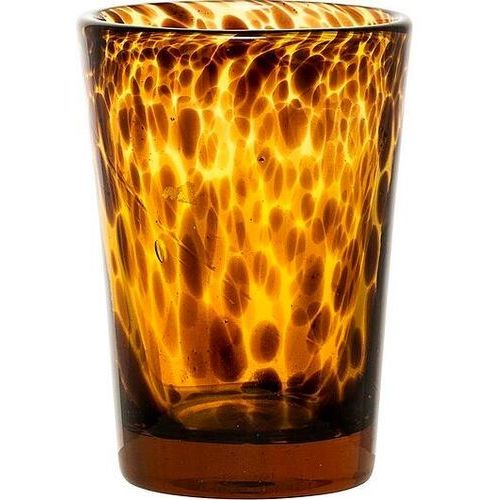 Bloomingville Świecznik 13 cm pomarańczowy szklany