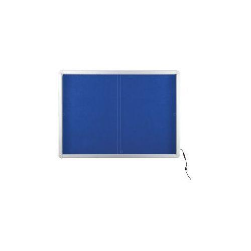 2x3 Gablota z oświetleniem led tekstylna 138x99 (18xa4) z drzwiczkami przesuwnymi