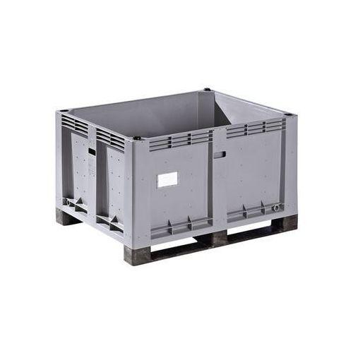 Duży pojemnik z polietylenu, poj. 600 l, 2 płozy, zamknięte. 2 płozy z tworzywa.