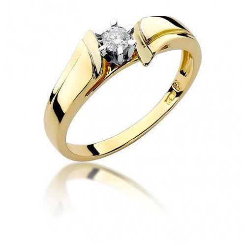Biżuteria SAXO 14K Pierścionek z brylantem 0,12ct W-300 Złoty, W-300Z-0.12