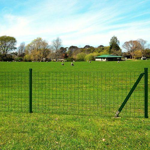 Vidaxl euro ogrodzenie z kotwami do ziemi, 10x1 m, zielone, stalowe