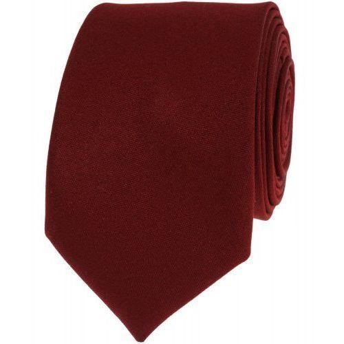 Krawat gładki jednokolorowy bordowy ciemny wąski śledź vip marki Viptextylia