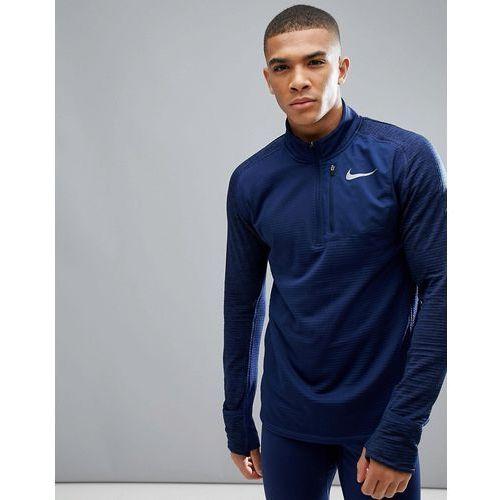 Nike running therma spehere element half zip sweat in blue 857829-429 - blue