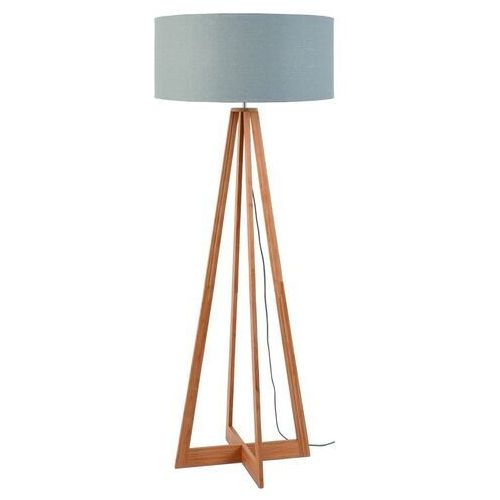 GOOD&MOJO Lampa podłogowa Everest bambus 4-nożna 127cm/abażur 60x30cm, lniany jasnoszary EVEREST/F/6030/LG, EVEREST/F/6030/LG
