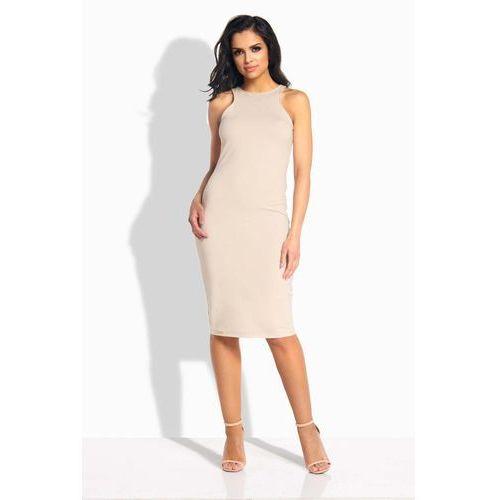 Beżowa Sukienka Ołówkowa do Kolan bez Rękawów, kolor beżowy