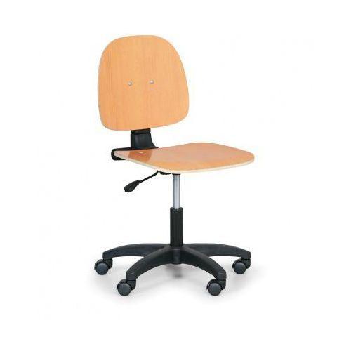 B2b partner Drewniane krzesło robocze - stały kontakt, kółka