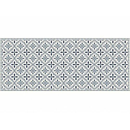 Winylowy chodnik terquise z motywem cementowych płytek – 66 × 160 cm – kolor niebieski i biały marki Vente-unique