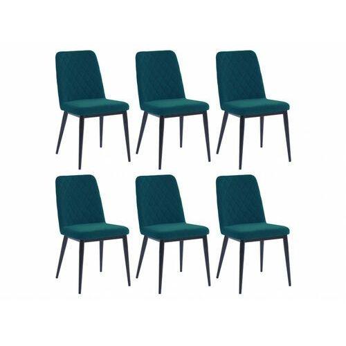 Vente-unique Zestaw 6 krzeseł pila – pikowane – tkanina i metal – kolor niebieski