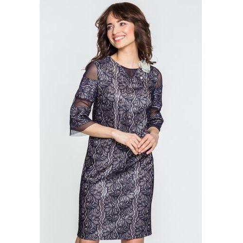 Granatowa sukienka z koronki - Margo Collection, kolor niebieski