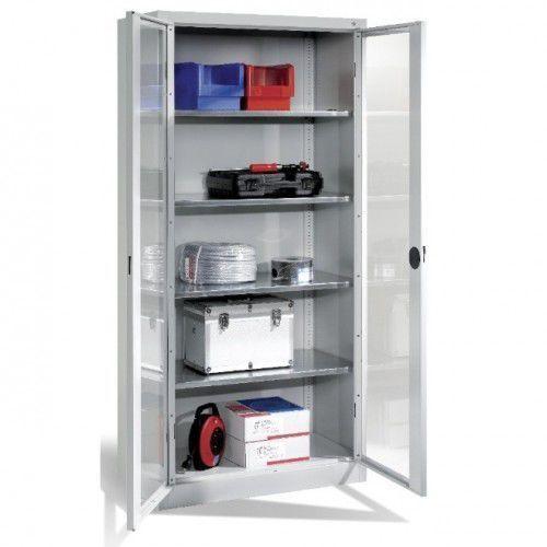 Metalowa szafa warsztatowa - różne wymiary. drzwi przeszklone. półki o nośności 70 kg. marki Cp