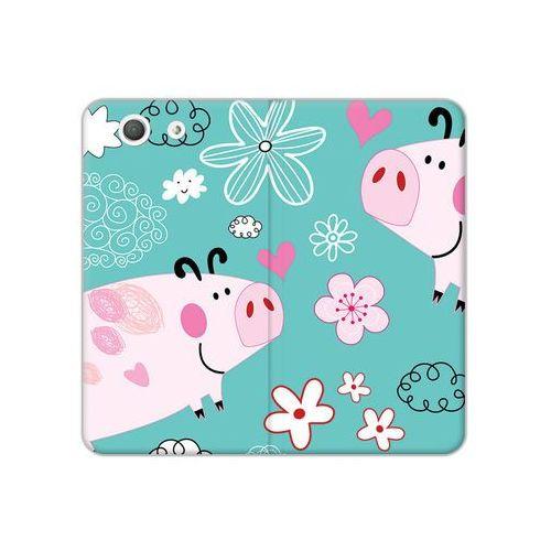 Sony Xperia Z3 Compact - etui na telefon Flex Book Fantastic - różowe świnki