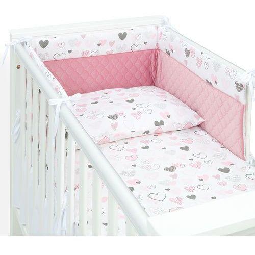 MAMO-TATO 3-el pościel do łóżeczka 60x120 Velvet PIK - Pastelowe serduszka / różany