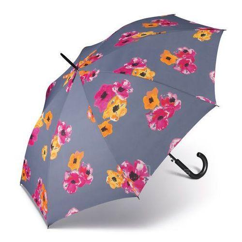 essentials classic długi damski parasol automatyczny long ac - szary w kwiaty marki Happy rain