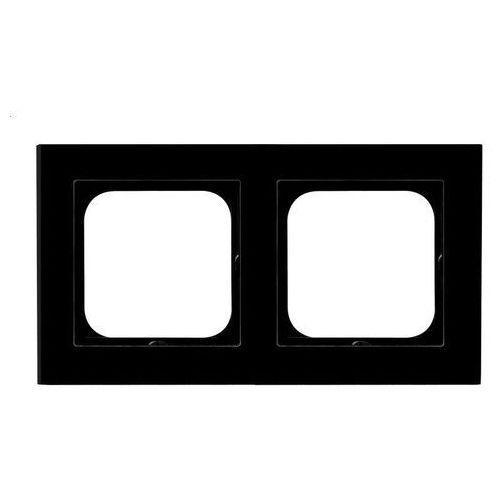 Ramka podwójna Ospel Sonata R-2RG/32 szkło czarne (5907577445966)