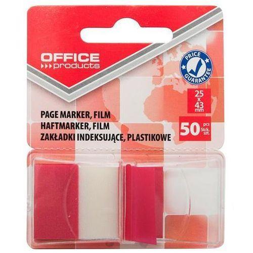 Zakładki indeksujące OFFICE PRODUCTS, PP, 25x43mm, 1x50 kart., blister, czerwone, 14223121-04