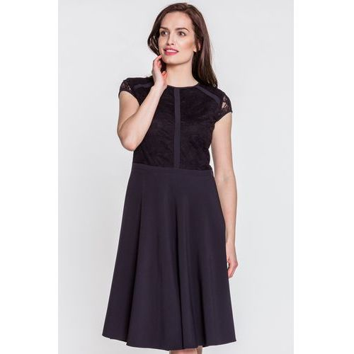 Czarna sukienka z koronkową górą - Metafora, kolor czarny