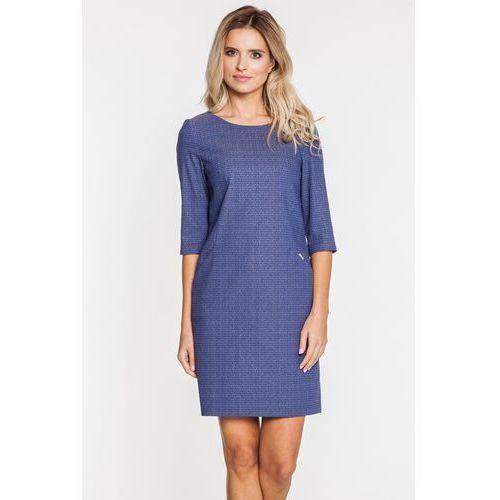 Niebieska sukienka w żakardowy wzór - Sobora