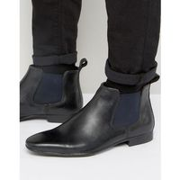 carnay chelsea boots in black leather - black, Silver street