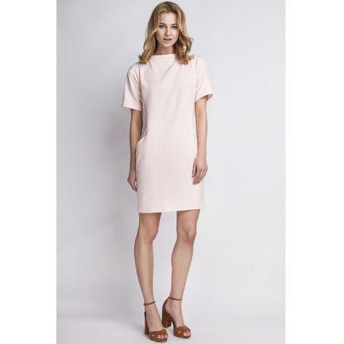 Prosta Różowa Sukienka z Krótkim Rękawem, w 4 rozmiarach