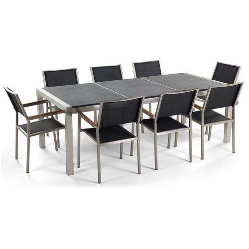Zestaw ogrodowy stół granit palony dzielony blat czarny i 8 krzeseł czarnych grosseto marki Beliani