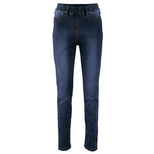 Legginsy dżinsowe power-stretch z wysoką talią ciemny denim marki Bonprix