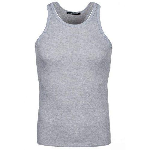 Szara koszulka bokserka męska bez nadruku Denley 2009 - SZARY, kolor szary