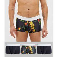 short trunks in microfibre floral print 3 pack multipack saving - multi, Asos design, XXS-XL