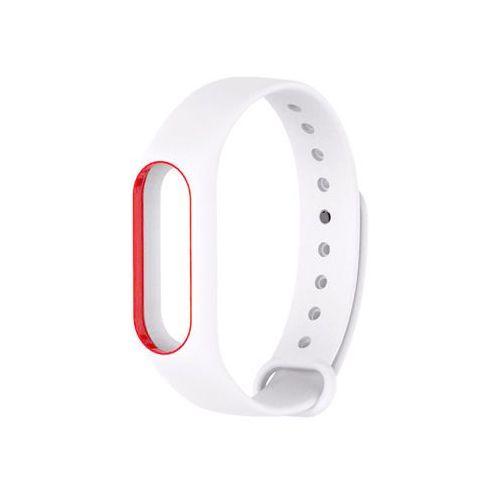 Opaska zamienna pasek guma do Xiaomi Mi Band 2 Biało-czerwona - Biały ||Czerwony, kolor biały