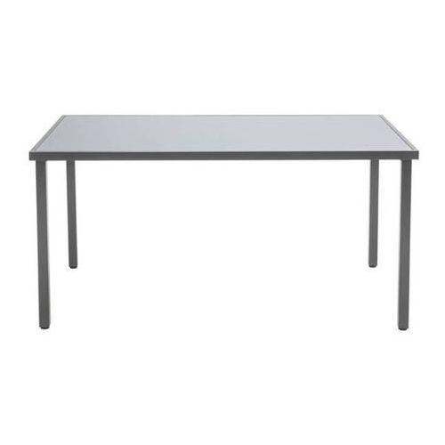 Stół metalowy dallas 150 x 90 cm ze szklanym blatem szary marki Opp