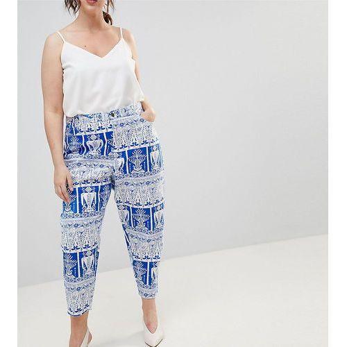 Asos curve Asos design curve balloon leg boyfriend jeans in tile print - multi