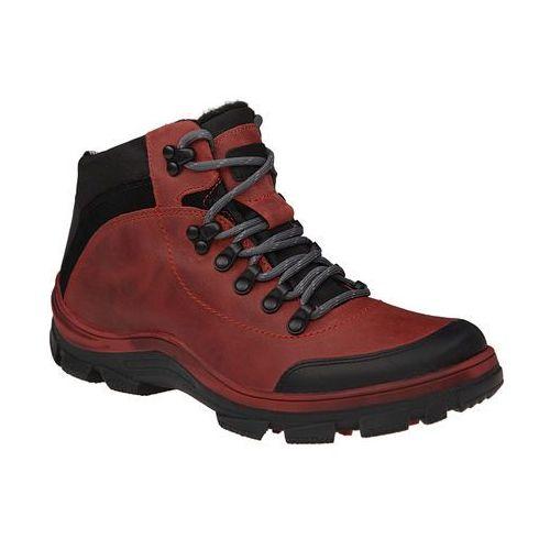 Trzewiki trekkingowe ocieplane KORNECKI 5273 Czerwone - Czerwony ||Czarny