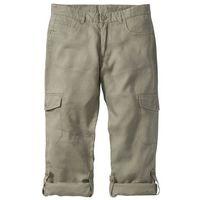 Spodnie lniane bojówki z wywijanymi nogawkami Regular Fit bonprix khaki, bojówki