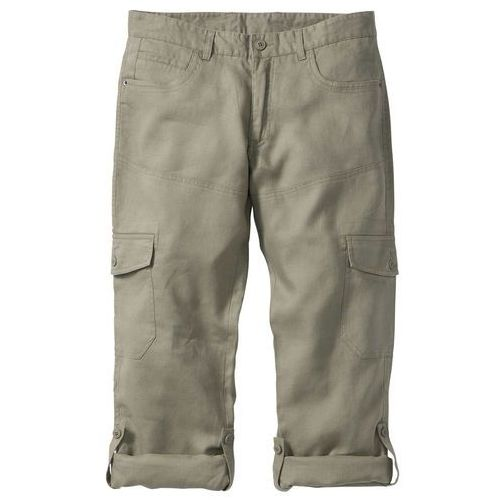 Spodnie lniane bojówki z wywijanymi nogawkami Regular Fit bonprix khaki, len
