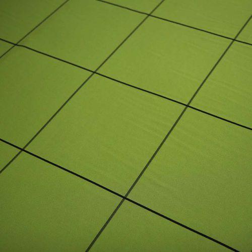 Tkanina Orlando - duża czarna krata na oliwkowej zieleni